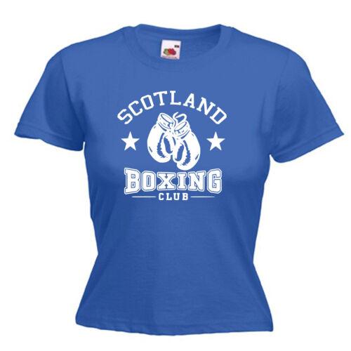 Scotland Boxing Club Boxer Ladies Lady Fit T Shirt 13 Colours Size 6-16