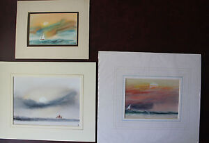3-ORIGINAL-WATERCOLOURS-WITH-MOUNTS-MARITIME-BOAT-20TH-CENT-TONY-CASTLE-NICE