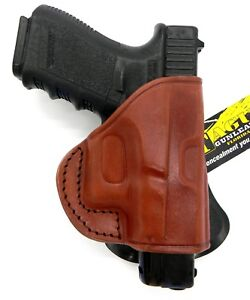 Details about TAGUA PD2R RH Rotating Quick Draw Paddle Holster Brown  Leather for GLOCK 45