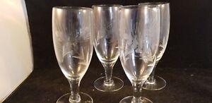 4 Set Vintage Crystal Wine Glasses
