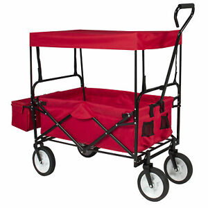 BCP-Folding-Utility-Wagon-Cart-w-2-Cup-Holders-Removable-Canopy-Red