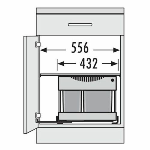 Abfallsammler Raumspar Tandem S plus 18L//12L Abfalltrennsystem Hailo 3644801