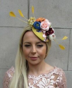 Mustard Yellow Blue Rose Flower Feather Hat Hair Fascinator Wedding ... 4e609a60e5d