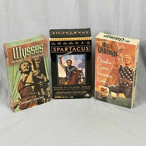 Lot 3 VHS Tapes Kirk Douglas Adventure Films Spartacus Ulysses And The Vikings