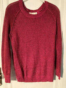 Faded Glory Women's Small Burgundy Maroon Knit Sweater Long Sleeve Fall