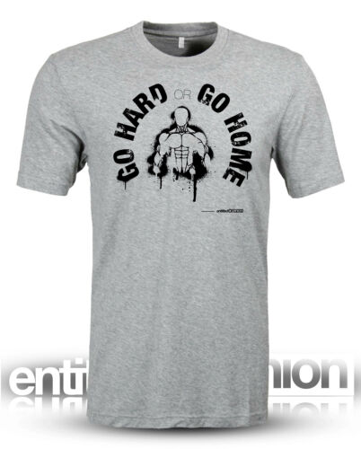 Workout fitness Crossfit Wod Slogan funny Go Hard or Go Home T-Shirt Grey Marl