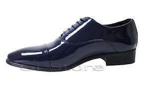 De Elegantes Azul Para Brillante Detalles Charol Calzado Ceremonia Clase Hombre Zapatos m0wv8nON