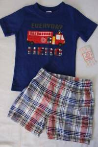 Baby Boys 2 Pc Set 3 - 6 Months Outfit T Shirt Shorts Fire Truck Hero Fireman