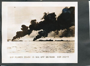 WWII-1945-US-Navy-Okinawa-Photo-Japanese-Airplanes-crash-in-sea