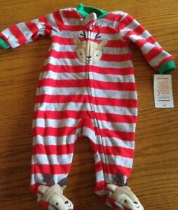 bc0ab23a550a Just One You Carters Fleece Christmas Sleeper Reindeer NEWBORN NWT ...