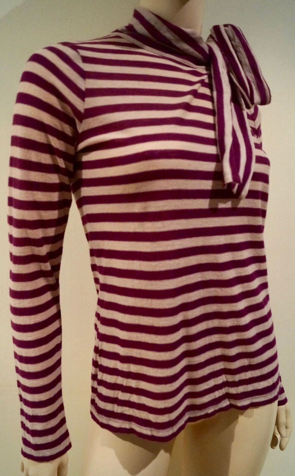 SONIA RYKIEL Cream & rot Stripe Wool Blend Tie Neck Long Sleeve Sweater Top Sz M