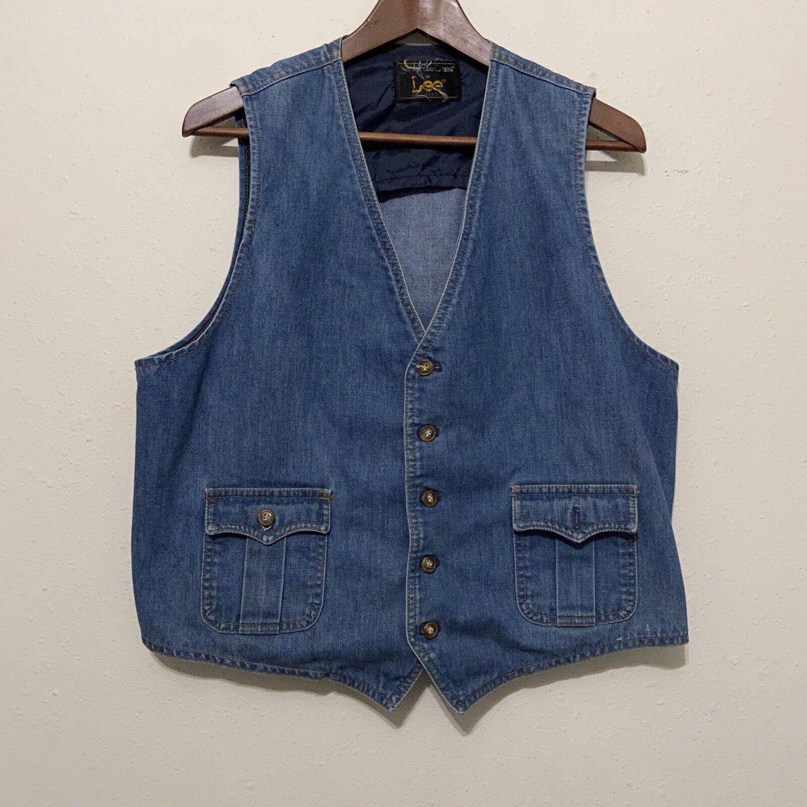 Vintage 70s Lee Denim jean vest sanforized Lee Se… - image 1