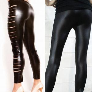 066c9e4b56401 2019 Black Fashion Women Solid Color Wet Look Metallic Cutout Skinny ...