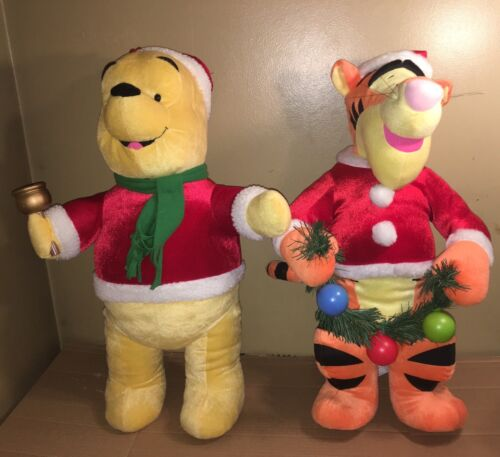 Gemmy Santa Winnie the Pooh & Tigger Door Greeters Disney Plush Christmas Decor