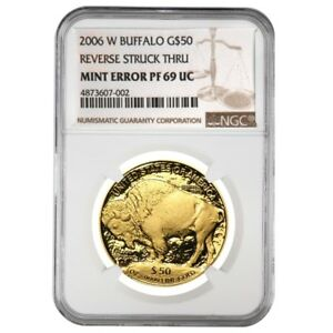 2006-W-1-oz-Proof-Gold-American-Buffalo-NGC-PF-69-Mint-Error-Rev-Struck-Thru