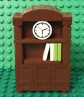 Lego New MOC Reddish Brown Bookcase Bookshelf Interior Home Furniture W/ Clock