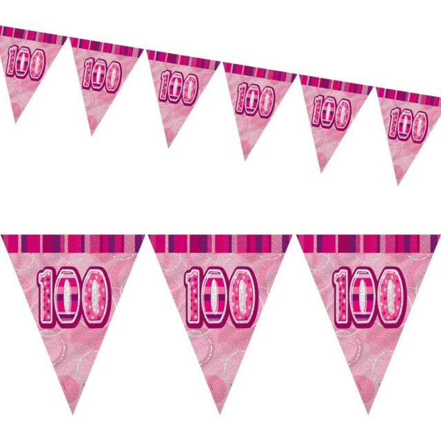 9ft Pink Sparkle Happy 100th Birthday Pennant Flag Banner Party Decoration