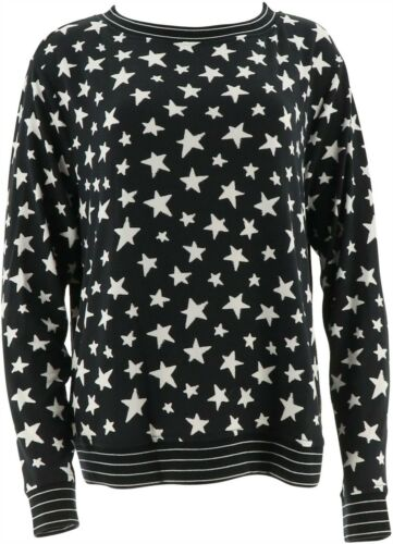 AnyBody de Détente Imprimé Hacci Sweat-Shirt Black Star 1X NEUF A302193
