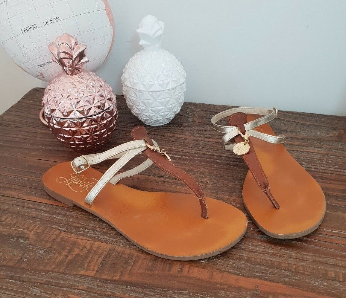 Lipstick womens brown and gold leather sandals size AU 6 leather gold removeable emellishment 84c09c