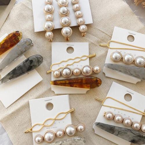 Womens Pearl Acrylic Hair Clip Hairpin Bobby Pin Barrette Stick Hair Accessories