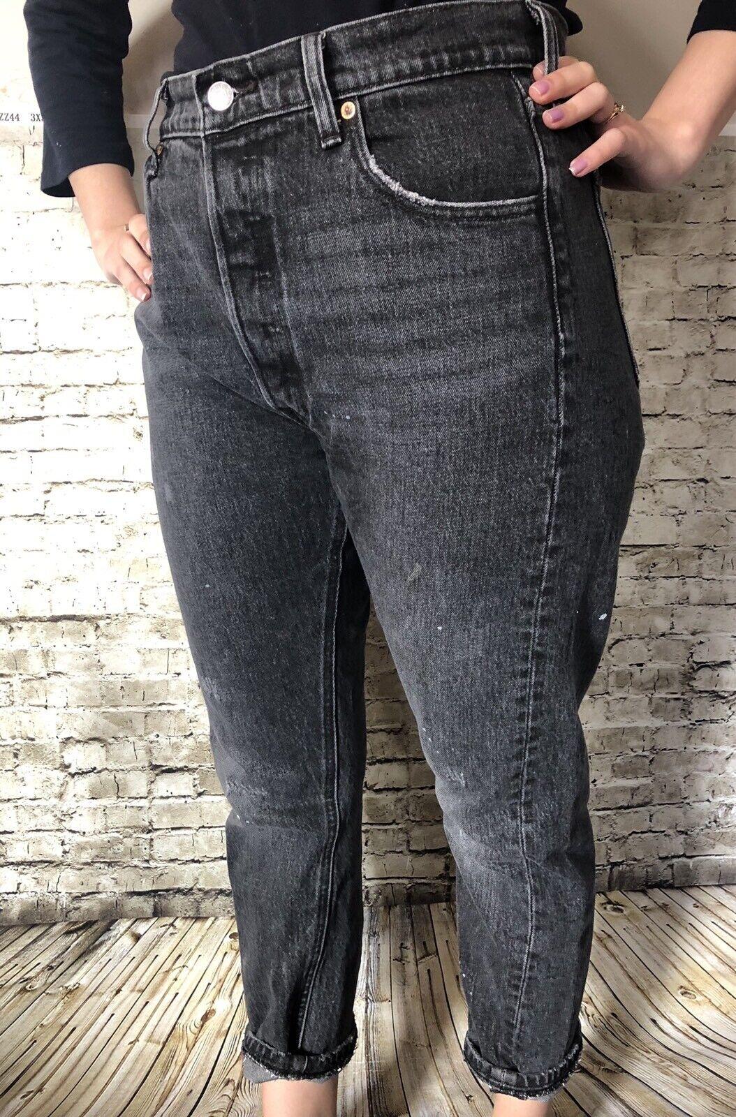LEVIS 501 Mom Jeans Sz 34x26 ALTERED SKINNY DISTR… - image 1
