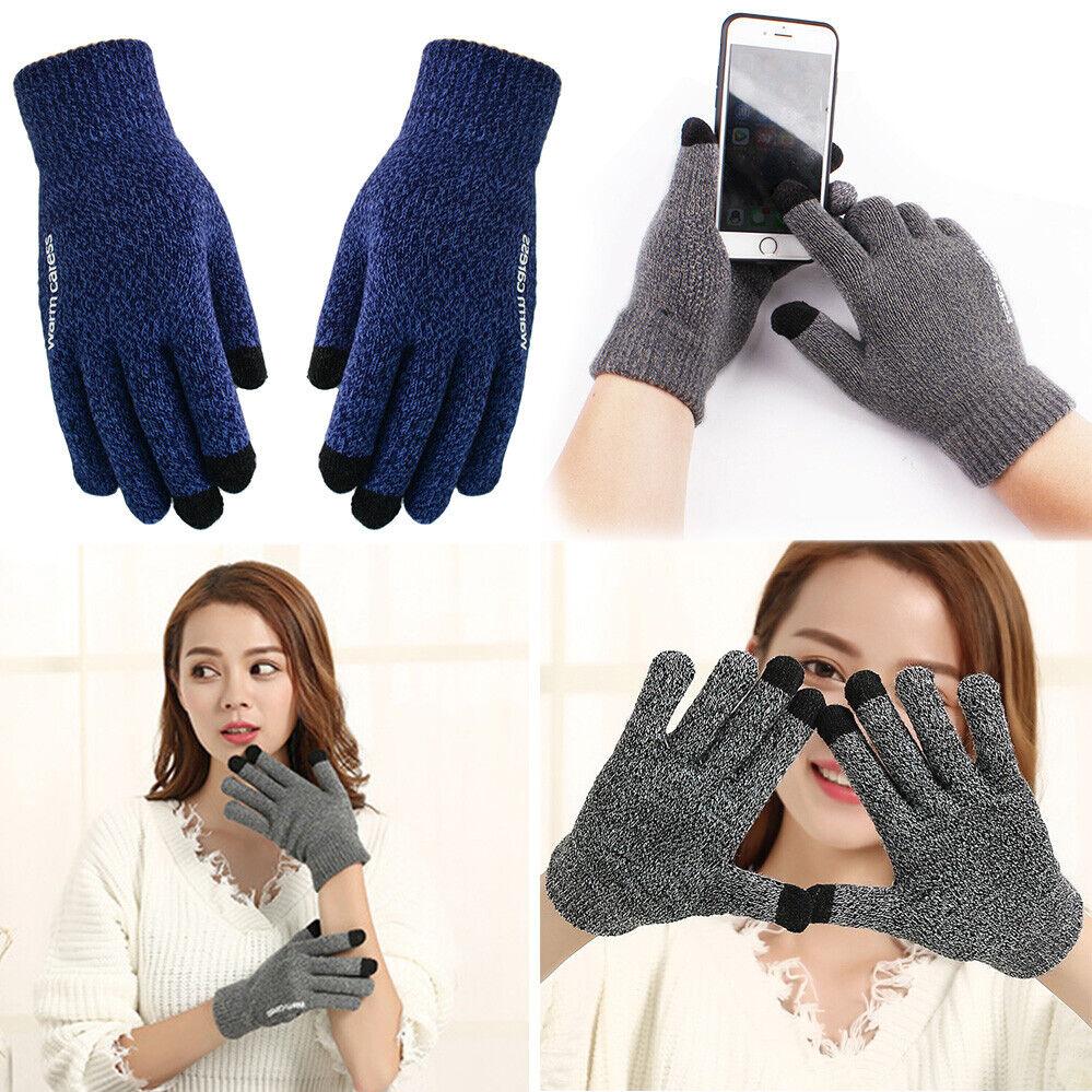 1 Pair Knitted Wool Men Warm Women Velvet Points Touch Screen Non-slip Gloves