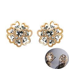 Hearts Cluster Snowflake Gold White Shiny Diamante Women Stud Earrings E1154