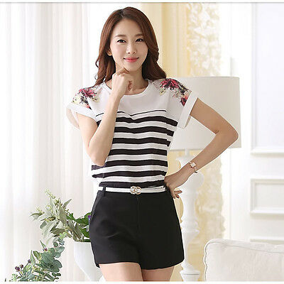 Women Shirt Slim Chiffon Tops Striped Floral Short Sleeve T Shirts Summer Blouse