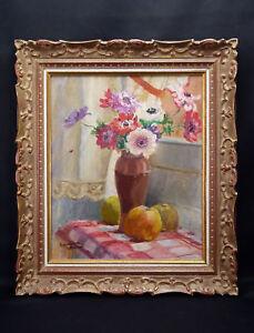 Germaine-Madeleine-Chapuis-Xix-Xx-Bouquet-Blumen-Rahmen-Original-Art-Deco