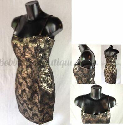 Bulk Buy X 5 Glitzy Gold And Black Glamourous Party Dress Size 8 - 16 Uk Fabbricazione Abile