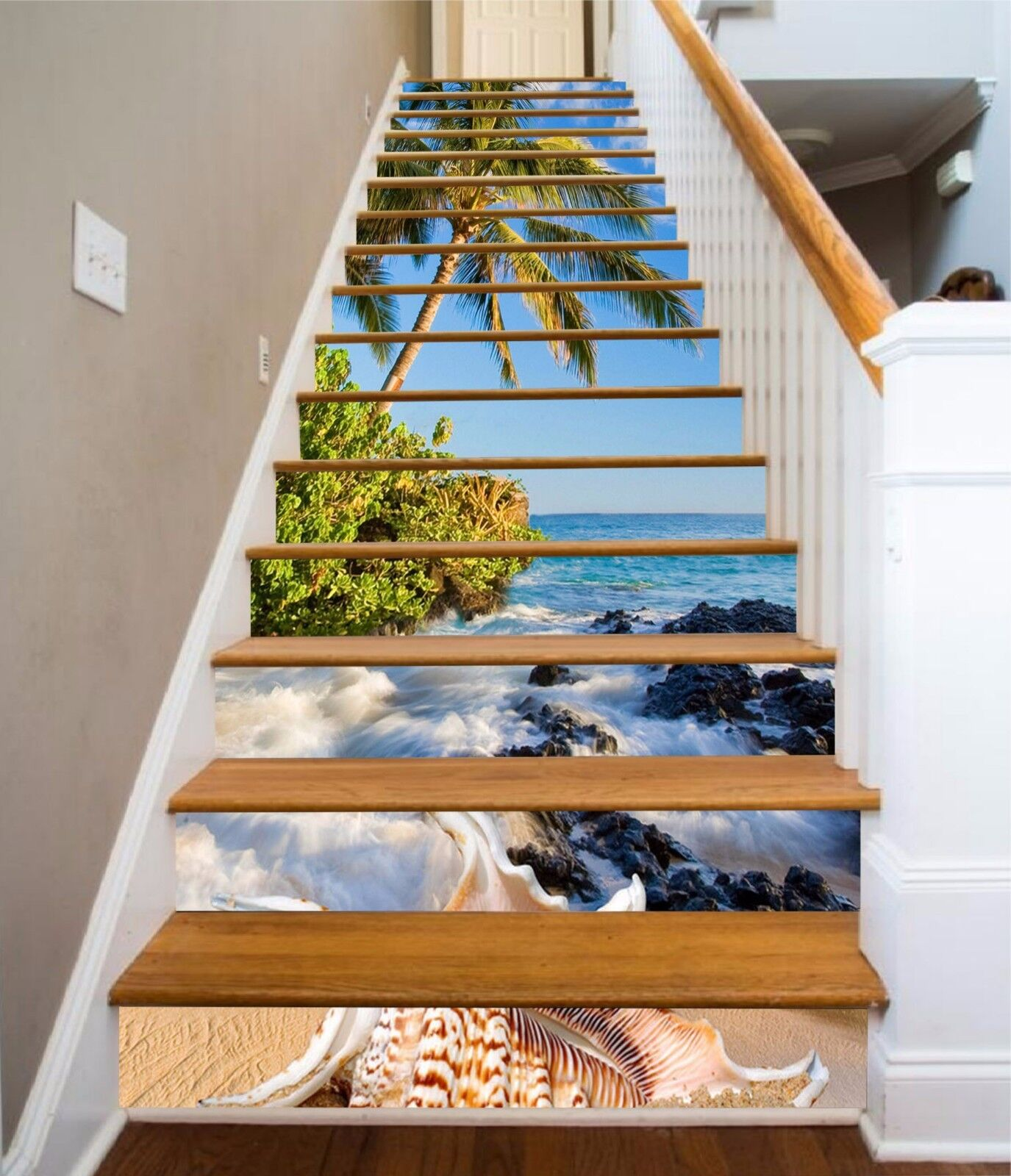 3D Beach Tree 7255 Stair Risers Decoration Photo Mural Vinyl Decal WandPapier AU
