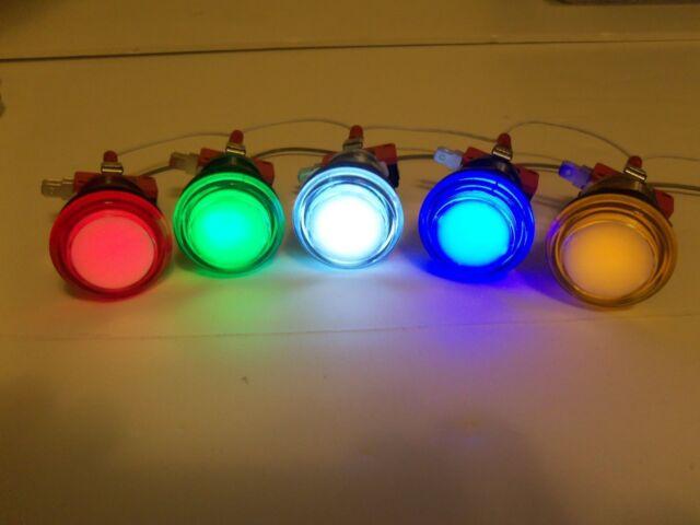 Player 1 /& 2 SET CHROME Led Lighted Arcade Button Mame Multicade