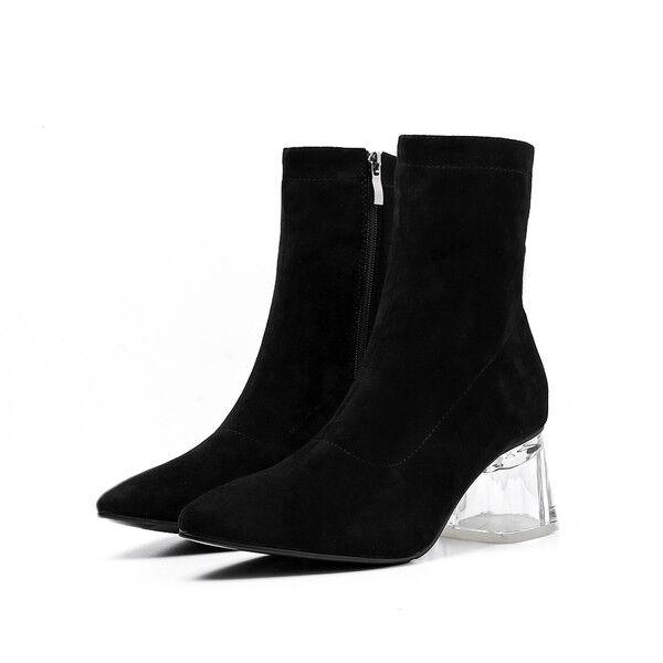 Stivaletti Stivaletti Stivaletti botas  tacco quadrato trasparente negro 6 cm simil pelle 1637  Mejor precio