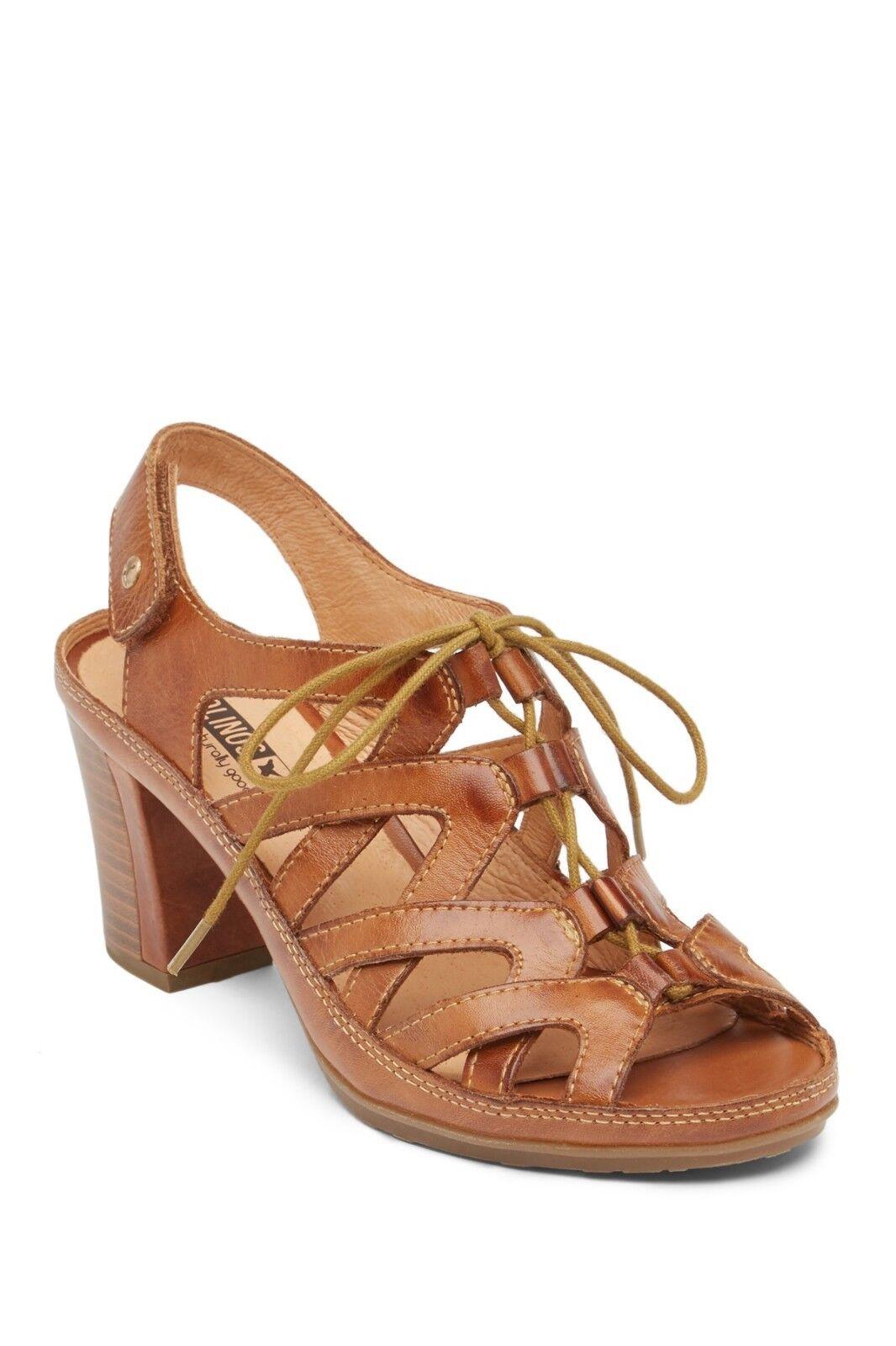New Pikolinos JAVA Lace Up Leather Comfort Heel Heel Heel Sandal Women's 40  9 BRANDY  170 b1360d