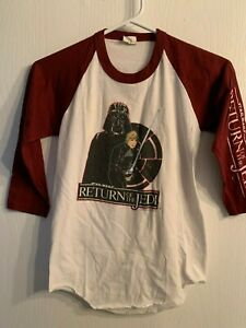 Vtg-1983-Star-Wars-T-Shirt-RETURN-OF-THE-JEDI-Raglan-Sleeve-Child-L-Luke-Darth