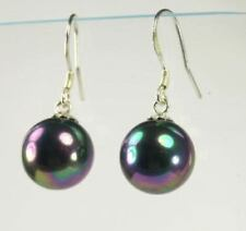 12mm Tahitian Black Peacock Sea Shell Pearl Dangle Earrings 14KGP Fine Leverback