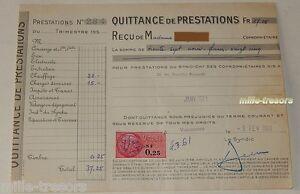 QUITTANCE-de-PRESTATIONS-du-1er-fevrier-1961-TIMBRE-Fiscal-de-0-25-NF