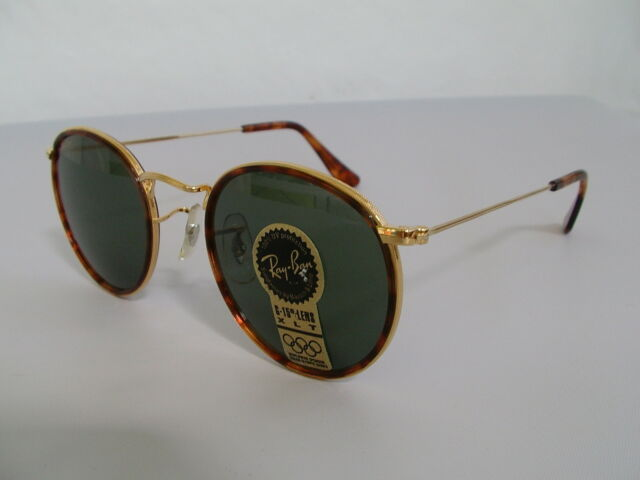 f796fc51497a B L Ray Ban Small Round Metal with Tortoise W1675 47mm Vintage Sunglasses  USA