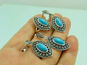 Turkish Handmade Jewelry 925 Sterling Silver Turquoise Stone Women Earrings