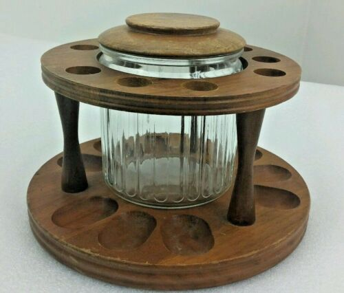 VINTAGE 9 Pipe Stand Decatur Round with Glass Humidor Jar & Lid Walnut-no pipes