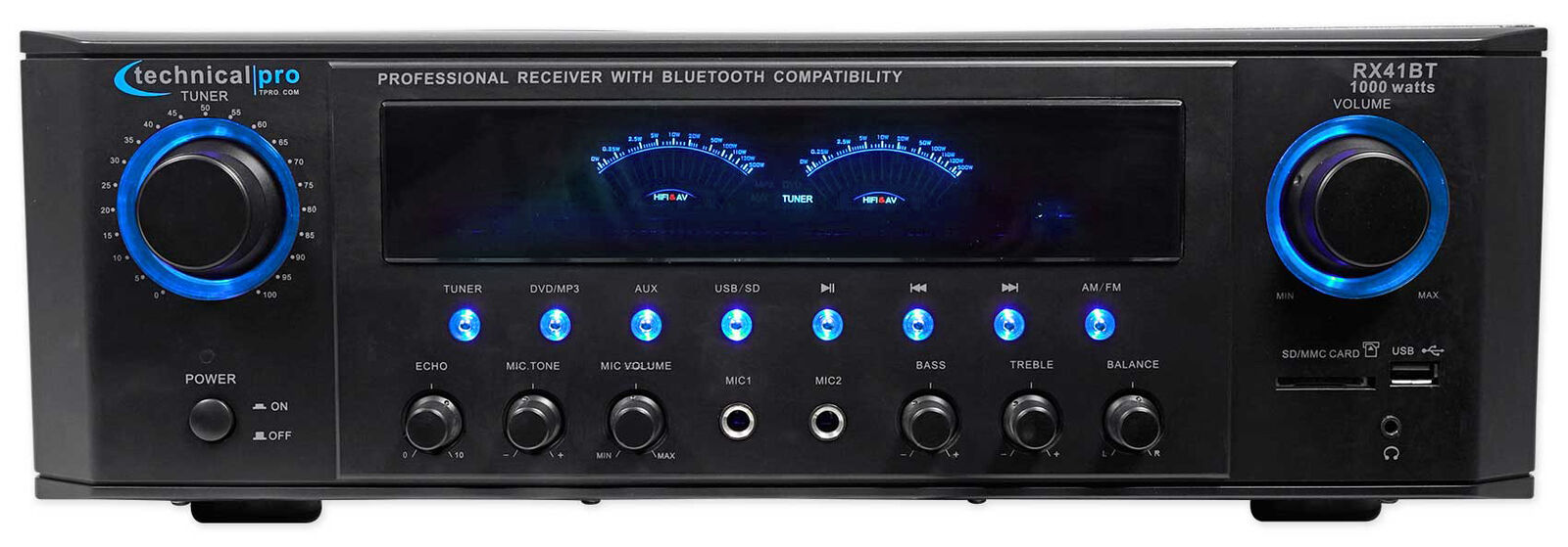 Technical Pro RX45BT Hybrid Pro Amplifier Receiver w Blautooth USB SD+Remote