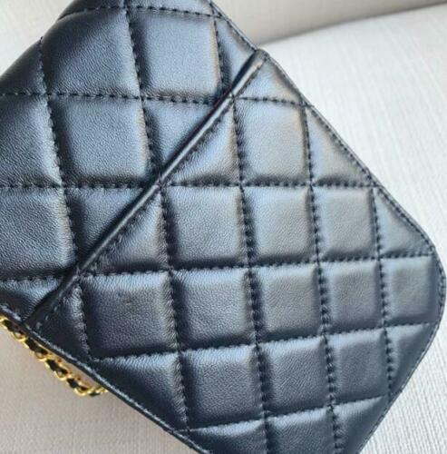 Womens Luxury Real Sheep Leather Quilted Metal Chain Strap Mobile Phone Mini Bag
