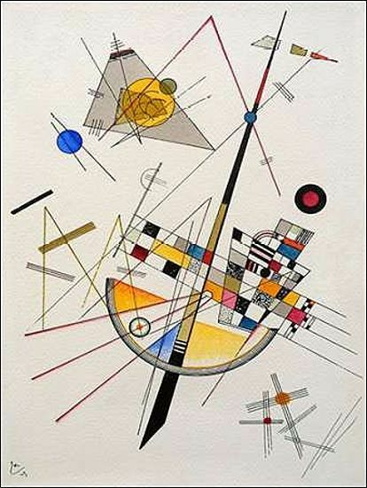 Wassily Kandinsky  Delicate Tension Keilrahmen-Bild Leinwand abstrakt Geometrie