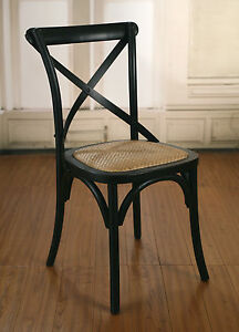 Dining-Chair-Cross-Back-French-Provincial-Birch-Antique-Black-Cafe-Style-NEW