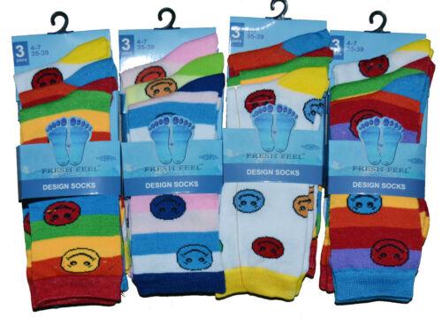 6x Paires Mesdames Femmes /& Filles Fashion Design Couleur Chaussettes tous les jours chaussettes UK 4-6