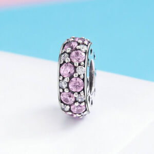 Authentic-925-Sterling-Silver-CZ-Pink-Round-Charm-Bead-For-Necklace-Bracelet