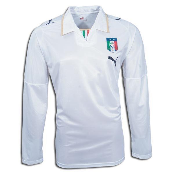 Puma  Euro 2008 Italia Long Sleeve Away Soccer Jersey Weiß / Gold
