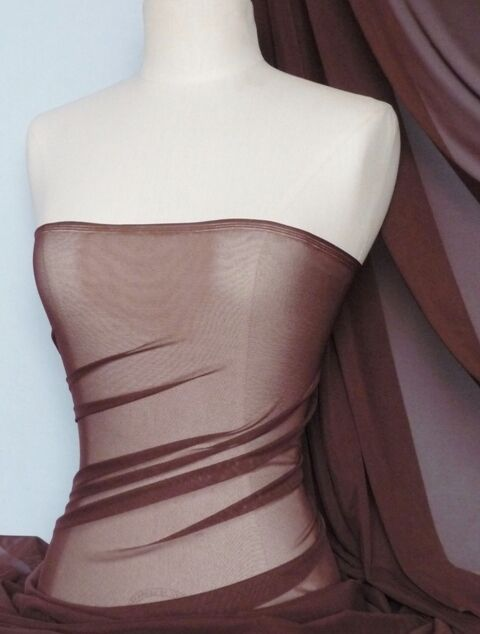 Brown Power Mesh 4 Way Stretch Fabric Material 109LT BR