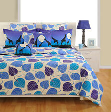 Swayam Blue and Purple Colour Tropical Print Extra Large Double Bed Sheet