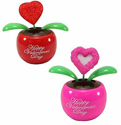 Electronic & Interactive Lovers' Gift ~set Of 2 Red & Pink Heart Dancing Solar Toy For Valentine's Day Electronic, Battery & Wind-up